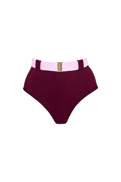 The Honey High Rise Brief, Burgundy/Contrast Blush