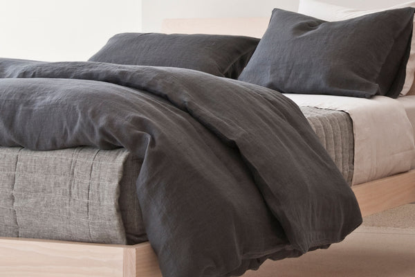CAMILLE dark grey duvet cover