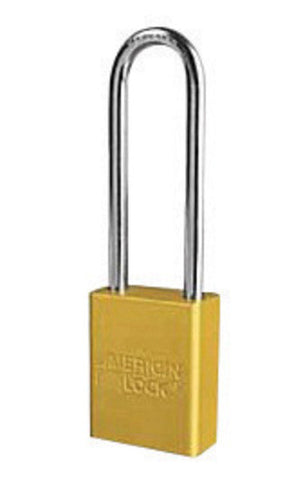 "American Lock® Yellow 1 1/2"" X 3/4"" Aluminum Safety Lockout Padlock With 1/4"" X 3"" X 3/4"" Shackle (6 Locks Per Set, Keyed Differently) (#1107YW)"