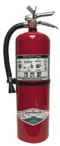 Amerex® 11 Pound Halotron® I 1A:10B:C Fire Extinguisher For Class A, B And C Fires With Chrome Plated Brass Valve, Wall Bracket, Hose And Nozzle (#397)