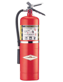 Amerex® 10 Pound Stored Pressure ABC Dry Chemical 4A:80B:C Steel Multi-Purpose Fire Extinguisher For Class A, B And C Fires With Anodized Aluminum Valve, Wall Bracket, Hose And Nozzle (#B456)