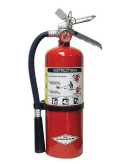 Amerex® 5 Pound Stored Pressure ABC Dry Chemical 2A:10B:C Multi-Purpose Fire Extinguisher For Class A, B And C Fires With Anodized Aluminum Valve, Wall Bracket, Hose And Nozzle (#B500)