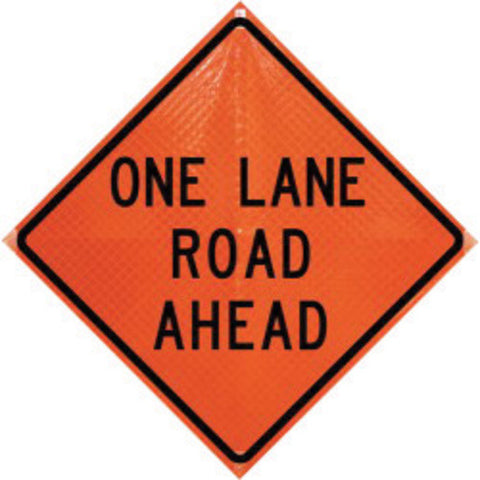 "Dicke Safety Products 36"" Black And Orange Polycarbonate Reflective Roll-Up Traffic Sign ""One Lane Road Ahead"" (#RUR36200OLRA)"