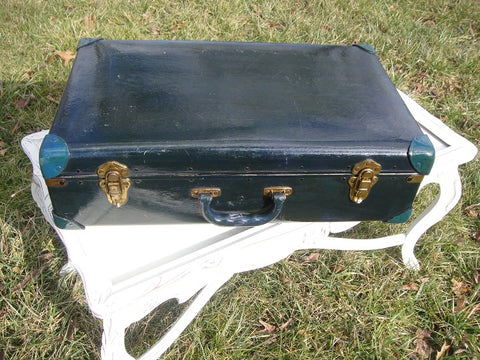 Old Black Painted Shabby Chic Suitcase (#1026A)