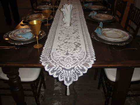 Ivory Lace Table Runners w/ Tassels (#1031) - Vintage Affairs - Vintage By Design LLC