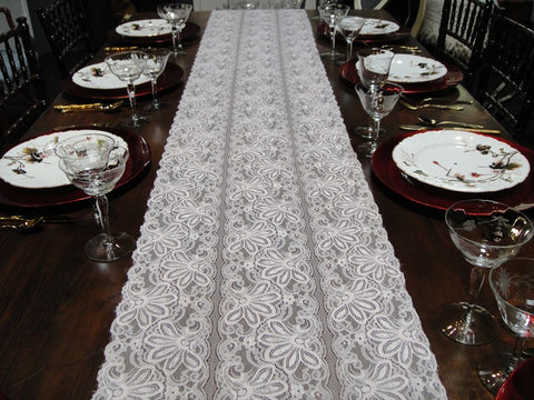Blush Lace Flower Table Runners (#1038)