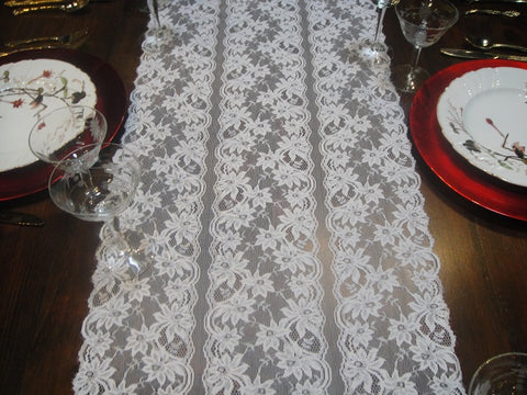 White Lace and Silver Tinged Flowers Table Runners (#1039) - Vintage Affairs - Vintage By Design LLC