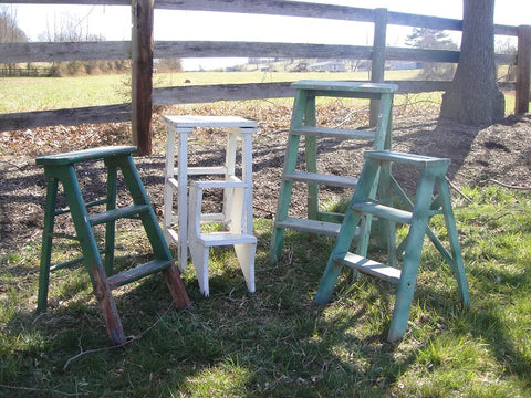 Assorted Vintage Step Ladders (#1044) - Vintage Affairs - Vintage By Design LLC