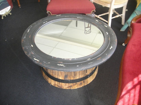 Half Wine Barrel/Mirror Tables (#1045A)