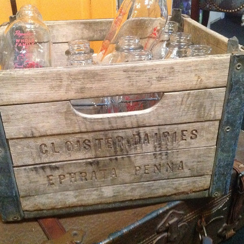 "Vintage ""Cloister"" Milk Bottle Crate - Vintage Affairs - Vintage By Design LLC"
