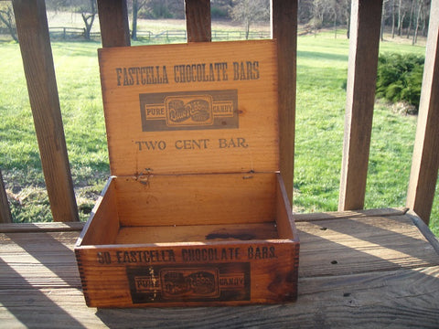 Fastcella Two Cent Chocolate Bar Crate (#1054E) - Vintage Affairs - Vintage By Design LLC