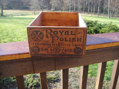 Vintage Bixby Royal Shoe Polish Crate - Vintage Affairs - Vintage By Design LLC