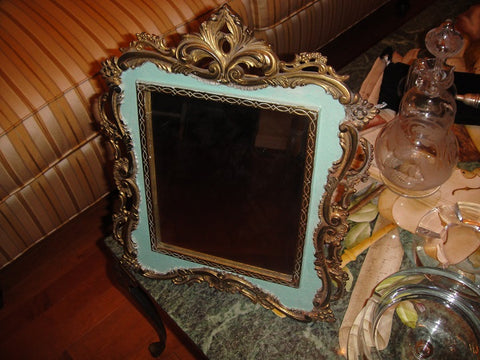Art Nouveau Green Metal Tabletop Framed Mirror (#1060G) - Vintage Affairs - Vintage By Design LLC