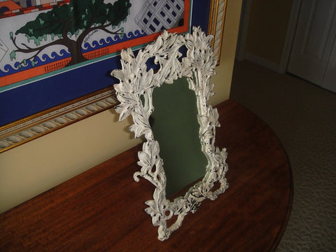 Art Nouveau Shabby Chic White Metal Tabletop Framed Mirror (#1060H) - Vintage Affairs - Vintage By Design LLC