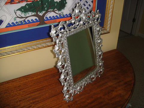 Art Nouveau Shabby Chic Silver Metal Tabletop Framed Mirror (#1061I) - Vintage Affairs - Vintage By Design LLC