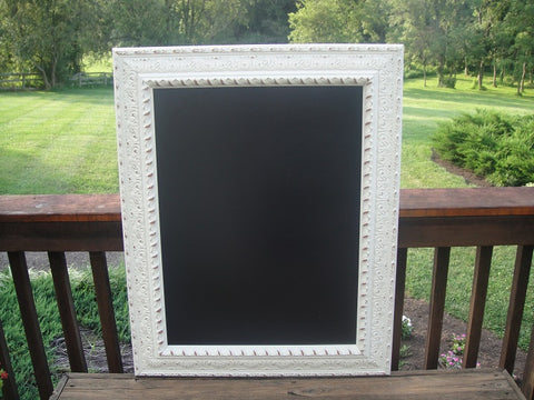 White Framed Chalkboard (#1086L) - Vintage Affairs - Vintage By Design LLC