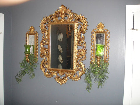 Gold Wall Mirror Set (#1091C) - Vintage Affairs - Vintage By Design LLC