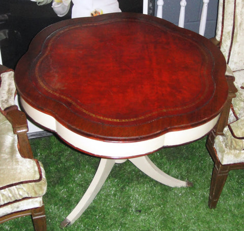 Shabby Chic Round Leathertop Table (#1132A) - Vintage Affairs - Vintage By Design LLC