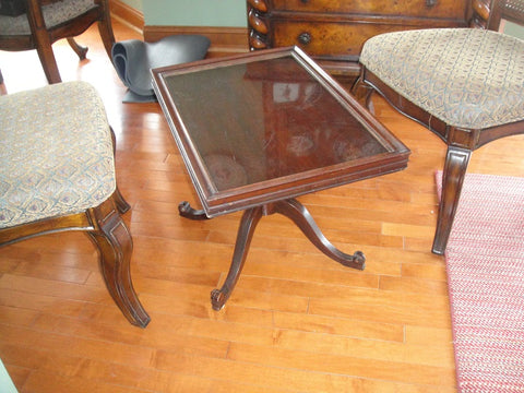 Small Glass Top Coffee Table (#1134E) - Vintage Affairs - Vintage By Design LLC