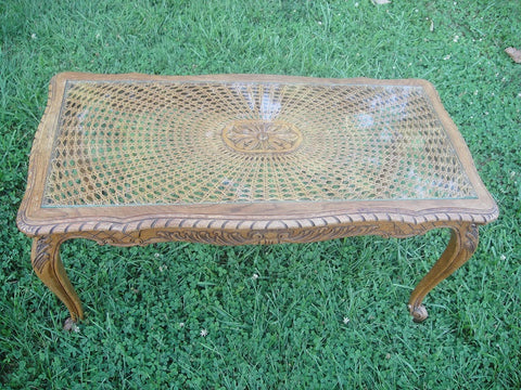 French Carved Oak and Cane Top Coffee Table (#1134K) - Vintage Affairs - Vintage By Design LLC