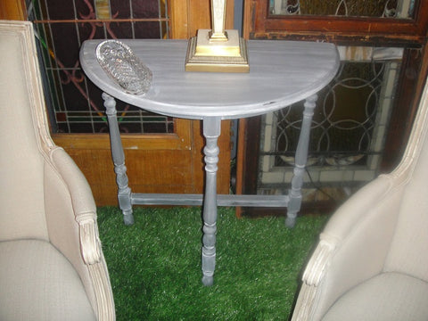 Gray Shabby Chic Demilune Table (#1135D) - Vintage Affairs - Vintage By Design LLC