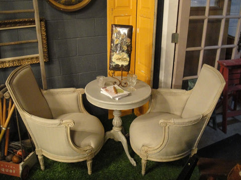 Pair of Gray Upholstered Queen Anne Chairs (#1143A) - Vintage Affairs - Vintage By Design LLC