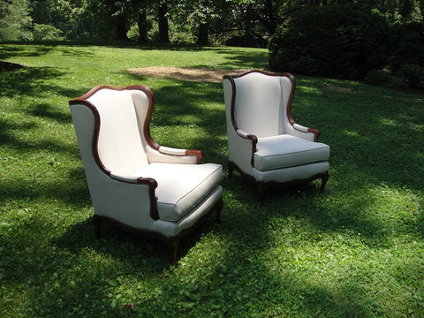 Pair of Louis XVI Style White Linen Chairs (#1143B) - Vintage Affairs - Vintage By Design LLC