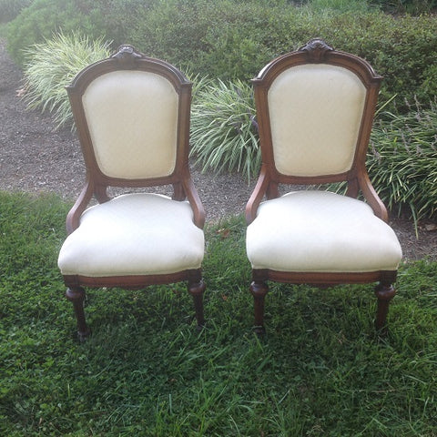 Pair of White Victorian Chairs (#1145D) - Vintage Affairs - Vintage By Design LLC