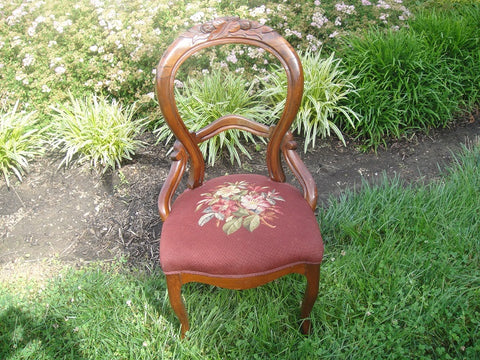 Burgundy Victorian Needlepoint Balloon Back Chair (#1149A) - Vintage Affairs - Vintage By Design LLC