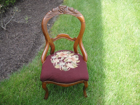 Royal Maroon Victorian Needlepoint Balloon Back Chair (#1149E) - Vintage Affairs - Vintage By Design LLC