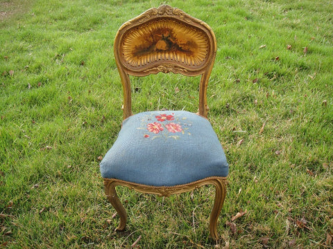 Gold Framed Blue Needlepoint Chair with Painted Back (#1149H) - Vintage Affairs - Vintage By Design LLC