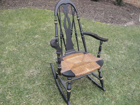 Black and Cane Victorian Rocking Chair (#1151C) - Vintage Affairs - Vintage By Design LLC