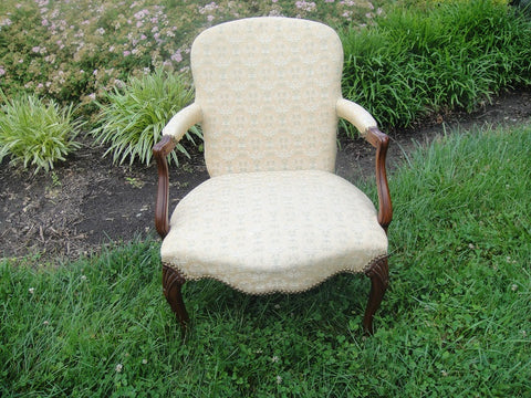 Yellow Print Louis XVI Style Armchair (#1158A) - Vintage Affairs - Vintage By Design LLC