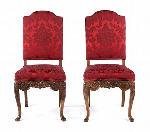 Pair of Red Upholstered Continental Style Oak Side Chairs (#1164A) - Vintage Affairs - Vintage By Design LLC