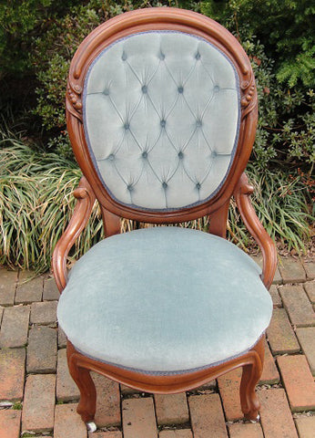 Shadow Blue Parlor Chair (#1172B) - Vintage Affairs - Vintage By Design LLC