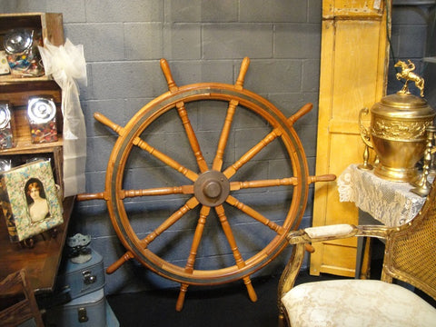 Large Maple and Metal Ship's Wheel (#1174) - Vintage Affairs - Vintage By Design LLC