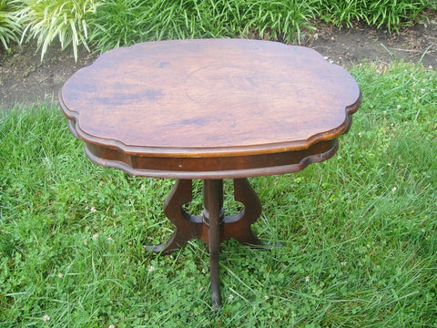 Walnut Victorian Side Table (#1175B) - Vintage Affairs - Vintage By Design LLC