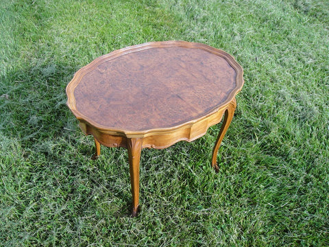 Walnut Burl Wood Side Table with Maple Frame (#1175F) - Vintage Affairs - Vintage By Design LLC