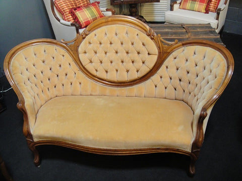 Victorian Champagne Settee (#1181A) - Vintage Affairs - Vintage By Design LLC