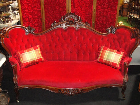 Royal Red Victorian Settee (#1181F)