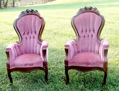 Pair of Victorian McLendon Cranberry Chairs (#1182) - Vintage Affairs - Vintage By Design LLC