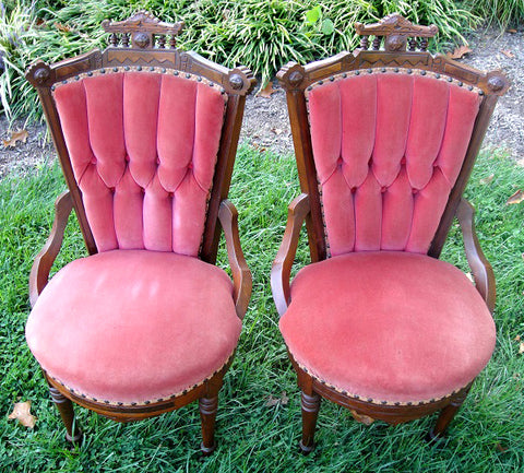Eastlake Red Victorian Side Chairs (#1183E) - Vintage Affairs - Vintage By Design LLC