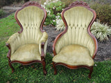 Kimball Laurel Green Victorian Parlor Chairs (#1196A) - Vintage Affairs - Vintage By Design LLC