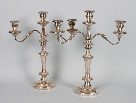 Pair of Silver-plated Three-light Candelabras - Vintage Affairs - Vintage By Design LLC
