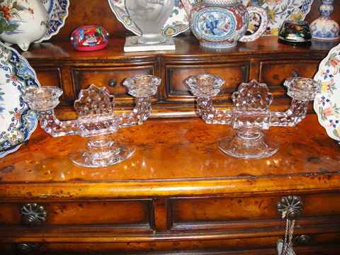 Pair of Small Cut Glass Candelabras (#1209B) - Vintage Affairs - Vintage By Design LLC