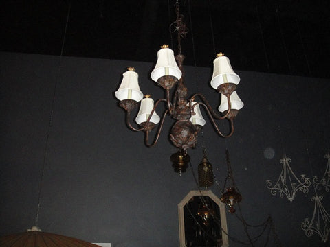 Bronze Chandelier w/ Shades with Finial (#1212B) - Vintage Affairs - Vintage By Design LLC