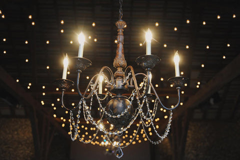 Bronze Chandelier w/ Crystals - Vintage Affairs - Vintage By Design LLC