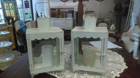 White Shabby Chic Candleholder Lanterns (#1224B) - Vintage Affairs - Vintage By Design LLC
