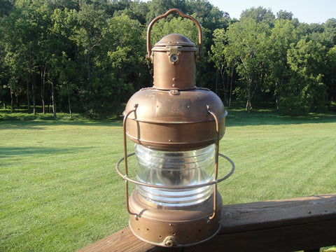 Copper Nautical Lantern (#1230A) - Vintage Affairs - Vintage By Design LLC