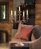 Aged Patina Metal 5-arm Candelabras (#1235A) - Vintage Affairs - Vintage By Design LLC